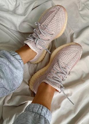 """Женские кроссовки adidas yeezy 350 v2 """"synth"""" reflective pink / розовые, рефлектив, премиум8 фото"""