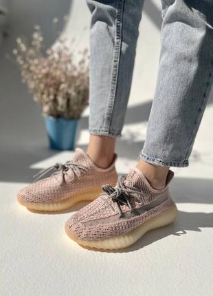 """Женские кроссовки adidas yeezy 350 v2 """"synth"""" reflective pink / розовые, рефлектив, премиум10 фото"""