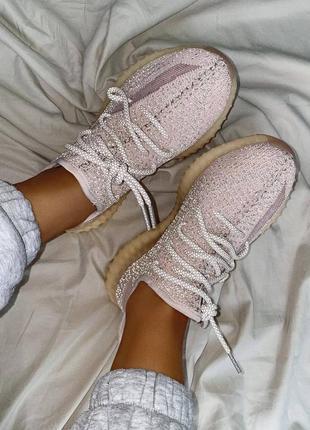 """Женские кроссовки adidas yeezy 350 v2 """"synth"""" reflective pink / розовые, рефлектив, премиум9 фото"""