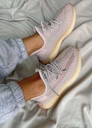"""Женские кроссовки adidas yeezy 350 v2 """"synth"""" reflective pink / розовые, рефлектив, премиум7 фото"""