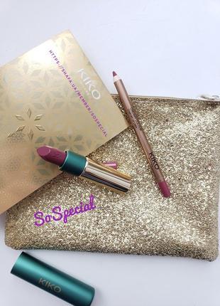 Подарочный набор для губ kiko milano holiday gems timeless lip kit 02