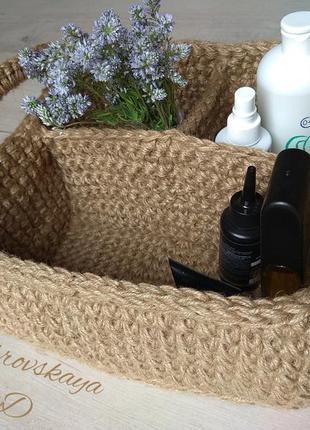 Вязанный органайзер из жгута, корзина квадратная, handmade