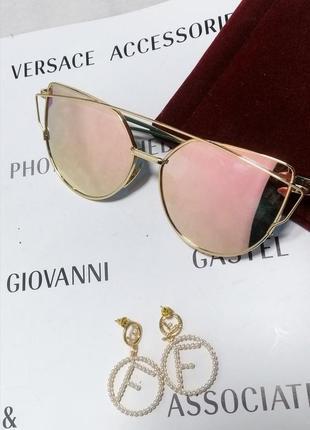 Солнцезащитные очки зеркальные розовые кошачий глаз