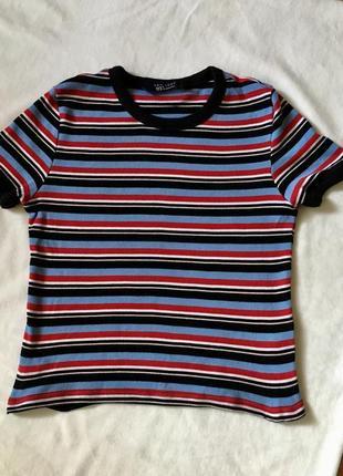Кроп топ полосатый в полоску чёрную голубую красную футболка