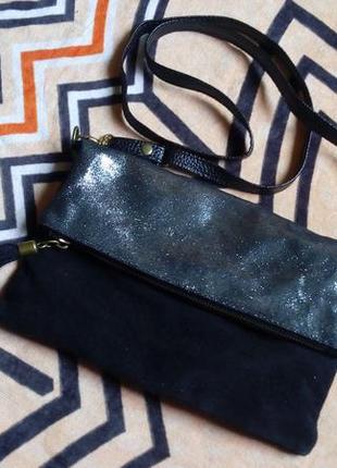 Итальянская кожаная сумка кроссбоди made in italy/ натуральная кожа/замш/серо-серебристое напыл