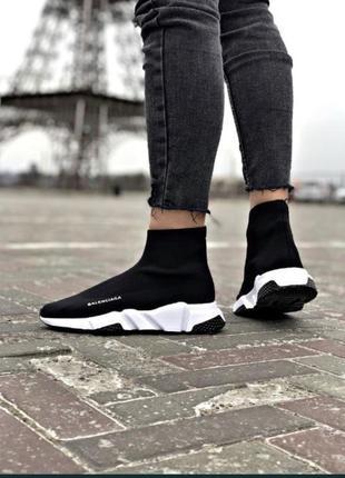 Чёрные высокие женские кроссовки носки,кеды,чулки.стрейчевые