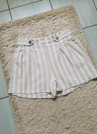 Легкие летние льняные шорты в полоску, лён, лен, хлопок, stradivarius