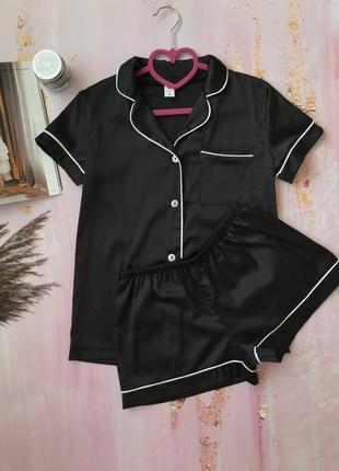 Сексуальная атласная/шёлковая чёрная пижама рубашка и шорты с-л