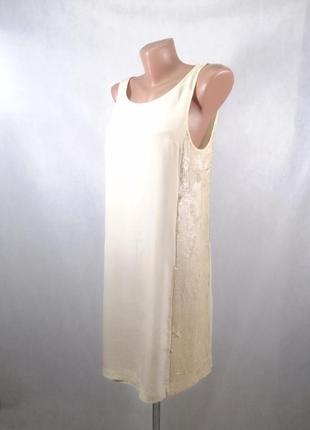 Платье micheel kors шелк бежевое с паетками