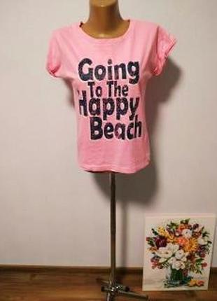 Футболка с принтом надписью пляж /большая распродажа!