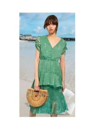 Шифоновое зеленое романтичное платье рюш сукня миди с воланами neon rose р.m