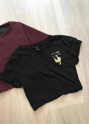 Кроп топ футболка майка з принтом малюнком лінивець / топик с рисунком базовый свободный фасон