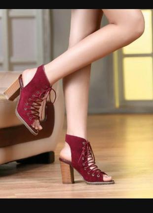 Супер стильные ботильены с открытым носком и пяткой на шнурках по стельке 26 см. atmosherr