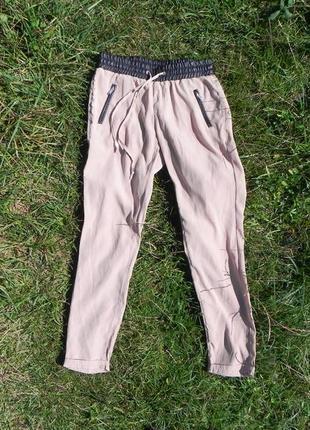 Stradivarius prada versace hugo boss 40-42 зауженные джогеры пудровые штаны брюки манжеты
