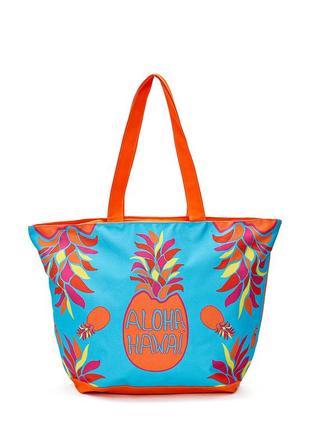Сумка пляжная le comptoir de la plage tropical 35x58x23,голубая с принтом ананаса 2
