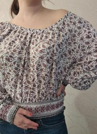 Блуза h&m укороченная с открытыми плечами в стиле бохо