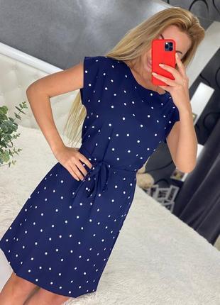 Темно синее платье в горошок🤍
