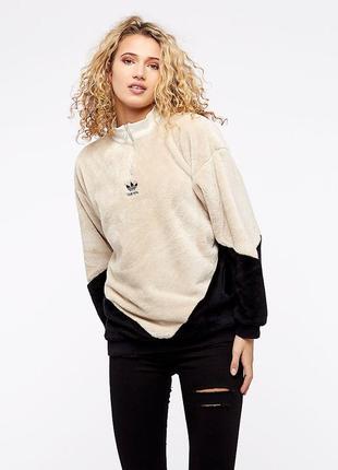 Adidas кофта свитшот плюшевый адидас толстовка тедди