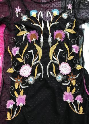 Шикарное чёрное платье сетка с вышивкой цветы, новое