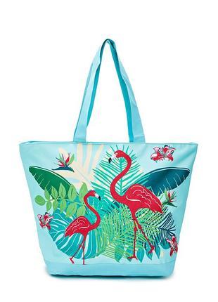 Сумка пляжная le comptoir de la plage tropical 35x58x23,голубая с принтом фламинго 2