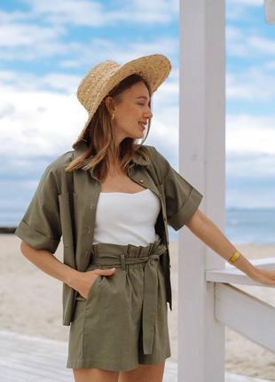 Трендовый льняной костюм на лето 2021🌸 (рубашка+шорты)