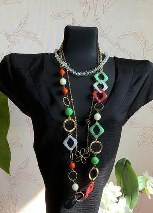 Ожерелье цепочка бусы зелёный красный цвет золото винтаж