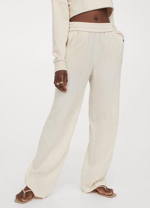 Длинные широкие брюки h&m из твила из смеси лиоцелла и вискозы