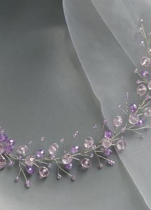 Украшение в прическу свадебное украшение веточка в волосы фиолетовая