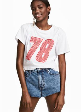 Короткая футболка h&m 34/xs