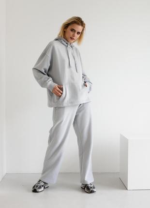 Серый костюм оверсайз худи и штаны высокого качества zlitay дизайнерская одежда