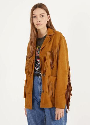 Куртка коричневая с бахромой на пуговицах bershka