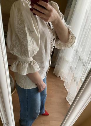 Шикарная винтажная блуза лен рукава буфы фонарик