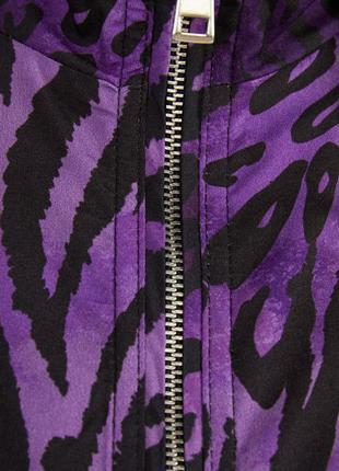Ветровка на молнии анималистичный принт фиолетовая bershka2 фото