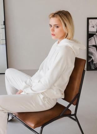 Молочний костюм худі та джогери білий повсякденний костюм бавовняний костюм найвищої якості zlitay