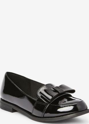 Лаковые лоферы туфли балетки чёрные мокасины туфлі низкий каблук базовые