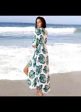 Длинное лёгкое летнее платье халат на пуговицах под пояс в пол  для города, пляжное. з зелёными листьями монстеры м l xl xxl xxxl