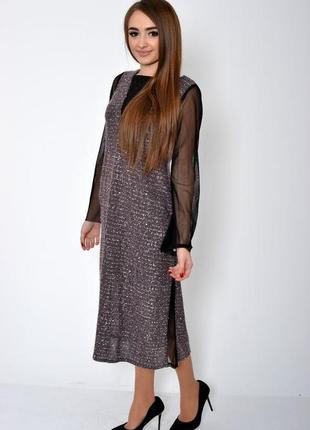 Стильное свободное платье прозрачный буф  рукав