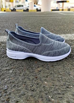 Слипоны серые сліпони сірі летние літні кроссовки без шнурков кросівки
