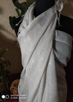 💖👍🤩 нарядный, белый платок парео с пайетками ☀️🐋🍍🍓