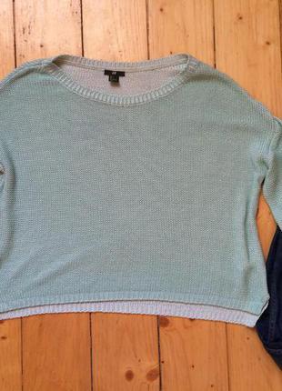 Мятний вязаний свитер кофта