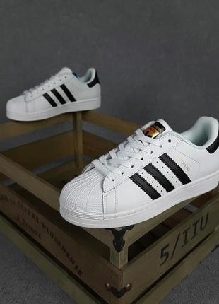 Шикарные женские кроссовки adidas superstar белые с чёрным