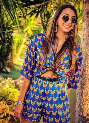 🦋 обалденный костюм - сет тропический принт попугайчики, шортики + рубашка стильный🦋