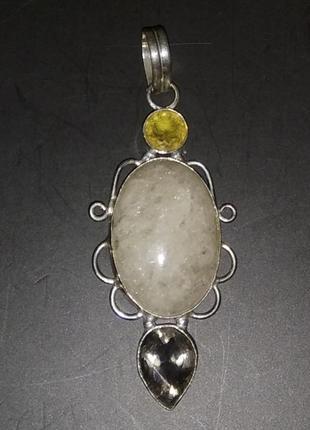 Массивный кулон. серебрение, камни