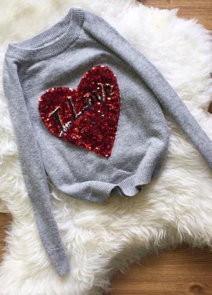 Кофточка свитер h&m с сердечком из пайеток