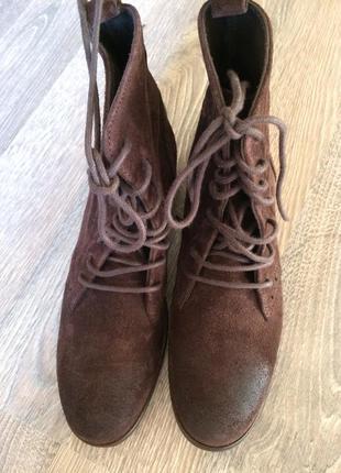Ботинки из натуральной кожи, шоколадного цвета