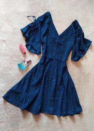 Шикарное качественное трендовое чёрное платье в синий горох пышная юбка
