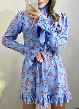 💙 нежное платье  с открытой спиной мини