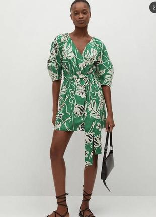 Платье с поясом цветочный принт зелёное платье mango оригинал