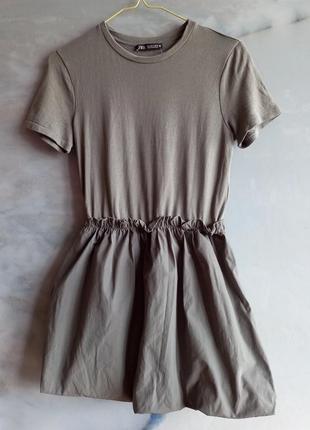 Супер стильное платье zara новые коллекции серое трикотаж