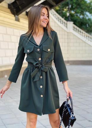 Платье женское короткое повседневное на пуговицах